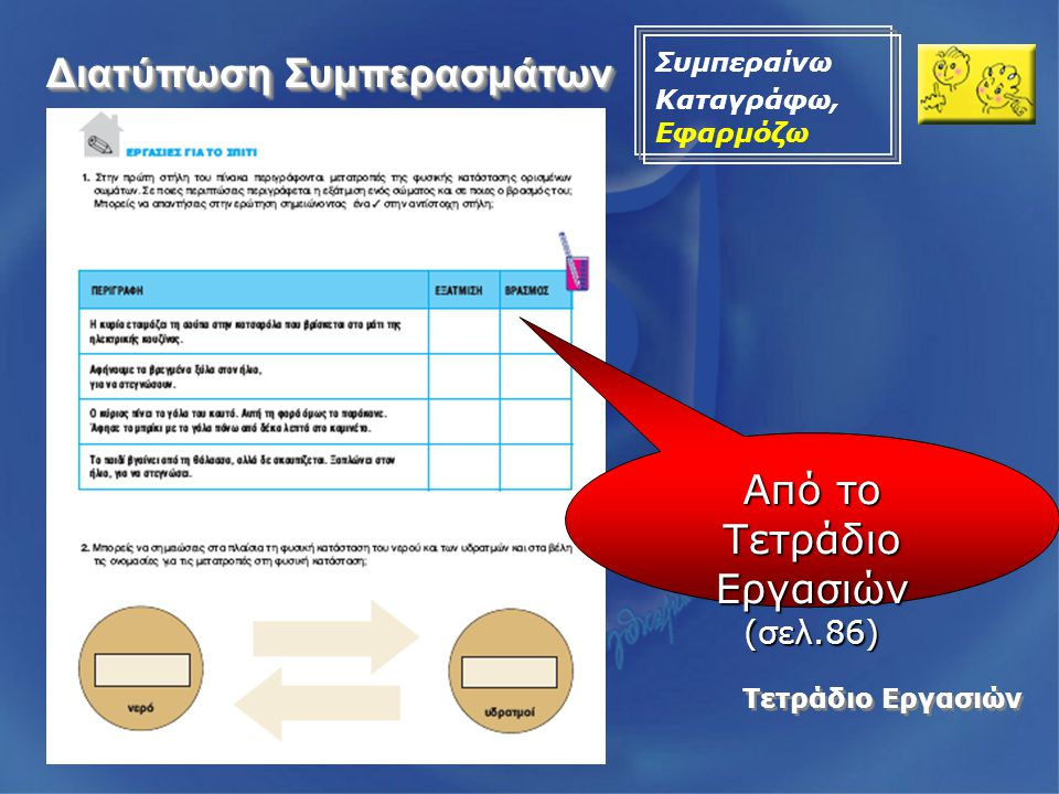 Τετράδιο Εργασιών Από το Τετράδιο Εργασιών (σελ.86) Διατύπωση Συμπερασμάτων Συμπεραίνω Καταγράφω, Εφαρμόζω