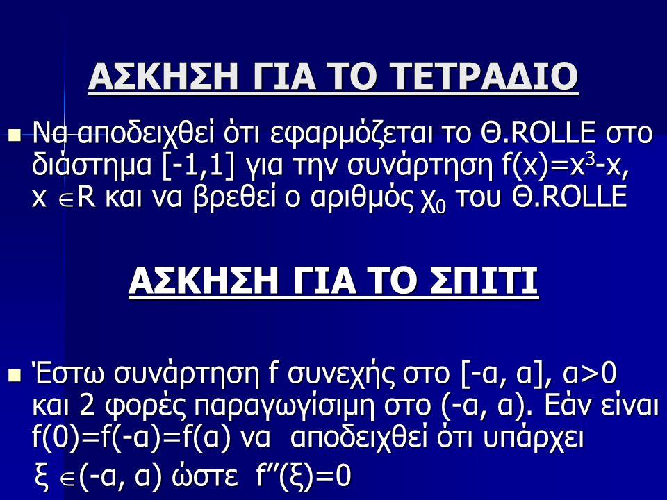 2η ΦΑΣΗ ΣΕΝΑΡΙΟΥ Μετακίνηση των Α,Β ώστε η χορδή ΑΒ να είναι οριζόντια άρα g(C) =g(D) Μετακίνηση των Α,Β ώστε η χορδή ΑΒ να είναι οριζόντια άρα g(C) =g(D) Για να διατηρηθεί η παραλληλία χορδής ΑΒ και εφαπτόμενης πρέπει η δεύτερη να είναι οριζόντια άρα g'(F)=0.