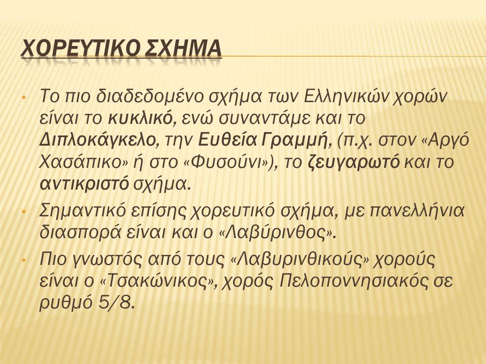 Το πιο διαδεδομένο σχήμα των Ελληνικών χορών είναι το κυκλικό, ενώ συναντάμε και το Διπλοκάγκελο, την Ευθεία Γραμμή, (π.χ.