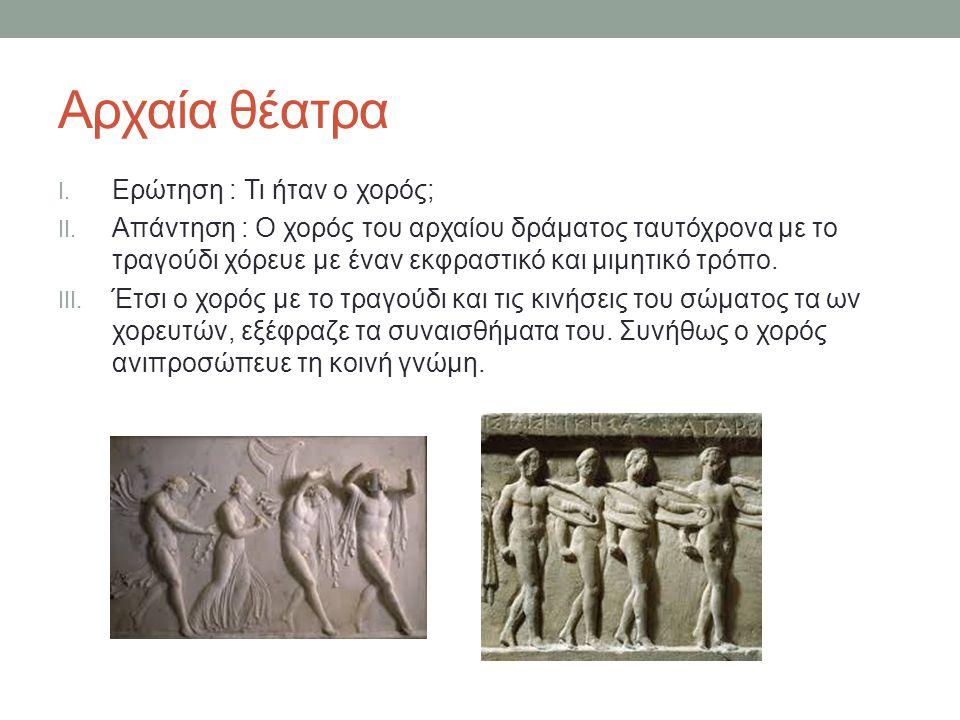 Αρχαία θέατρα I.Ερώτηση : Τι ήταν ο χορός; II.