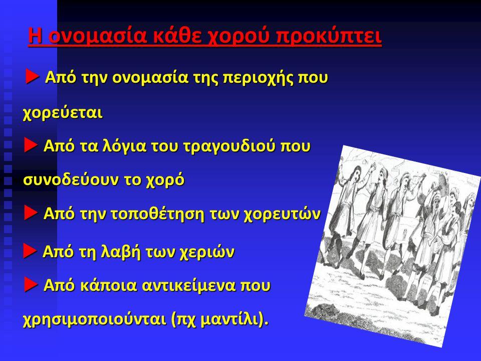 Η ονομασία κάθε χορού προκύπτει  Από την ονομασία της περιοχής που χορεύεται  Από τα λόγια του τραγουδιού που συνοδεύουν το χορό  Από την τοποθέτηση των χορευτών  Από την ονομασία της περιοχής που χορεύεται  Από τα λόγια του τραγουδιού που συνοδεύουν το χορό  Από την τοποθέτηση των χορευτών  Από τη λαβή των χεριών  Από κάποια αντικείμενα που χρησιμοποιούνται (πχ μαντίλι).