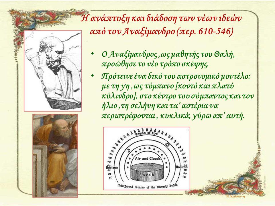 Η ανάπτυξη και διάδοση των νέων ιδεών από τον Αναξίμανδρο (περ. 610-546) Ο Αναξίμανδρος,ως μαθητής του Θαλή, προώθησε το νέο τρόπο σκέψης. Πρότεινε έν