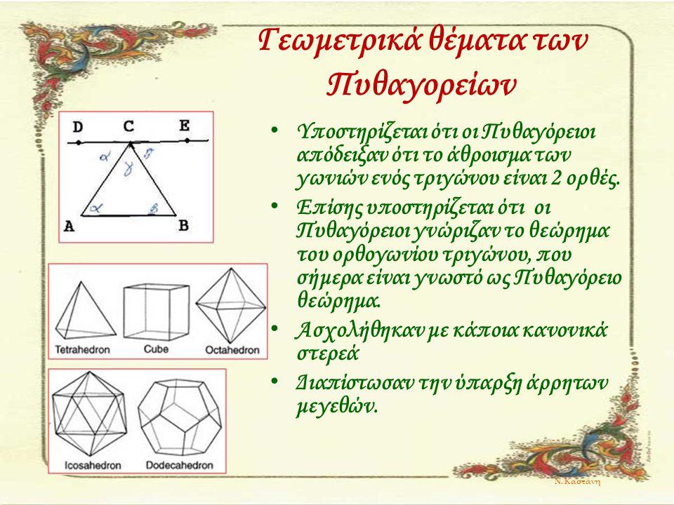 Γεωμετρικά θέματα των Πυθαγορείων Υποστηρίζεται ότι οι Πυθαγόρειοι απόδειξαν ότι το άθροισμα των γωνιών ενός τριγώνου είναι 2 ορθές. Επίσης υποστηρίζε