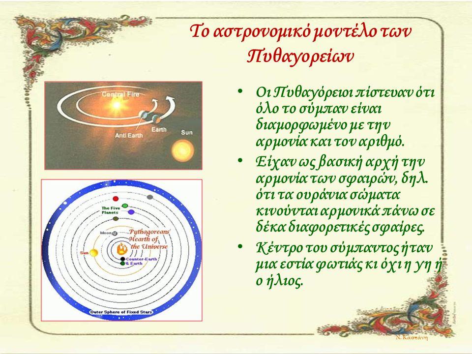 Το αστρονομικό μοντέλο των Πυθαγορείων Οι Πυθαγόρειοι πίστευαν ότι όλο το σύμπαν είναι διαμορφωμένο με την αρμονία και τον αριθμό. Είχαν ως βασική αρχ