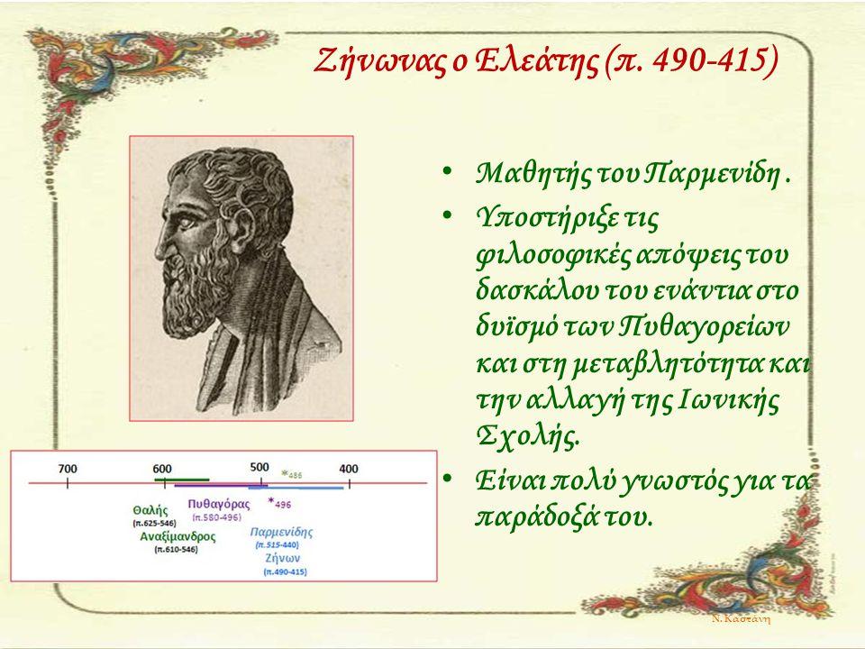 Ζήνωνας ο Ελεάτης (π. 490-415) Μαθητής του Παρμενίδη. Υποστήριξε τις φιλοσοφικές απόψεις του δασκάλου του ενάντια στο δυϊσμό των Πυθαγορείων και στη μ