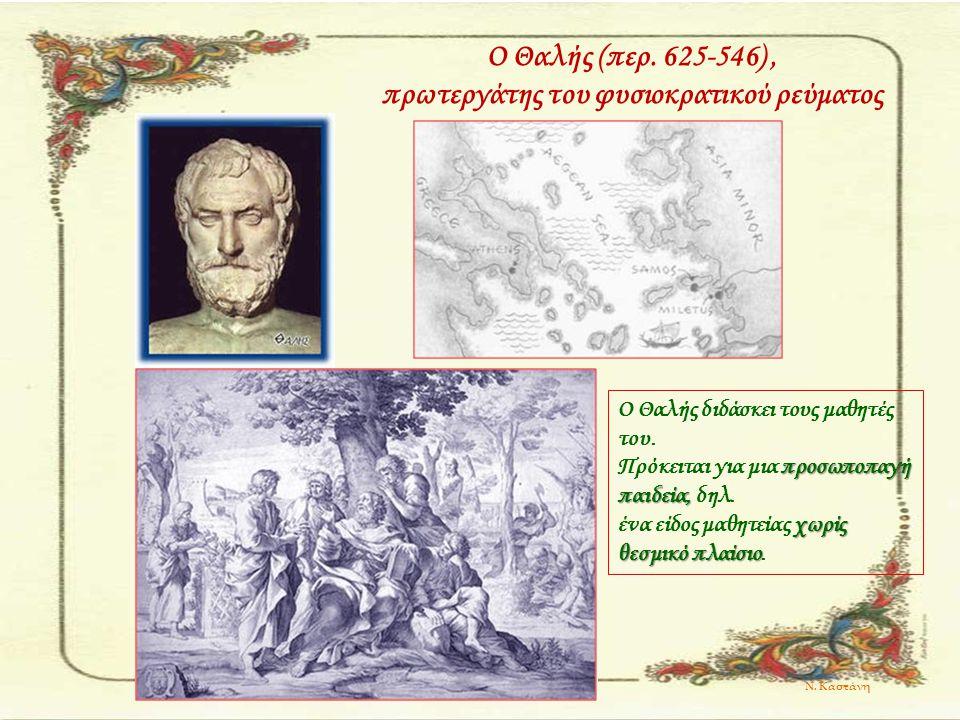 Ο Θαλής (περ. 625-546), πρωτεργάτης του φυσιοκρατικού ρεύματος Ο Θαλής διδάσκει τους μαθητές του. προσωποπαγή παιδεία, Πρόκειται για μια προσωποπαγή π
