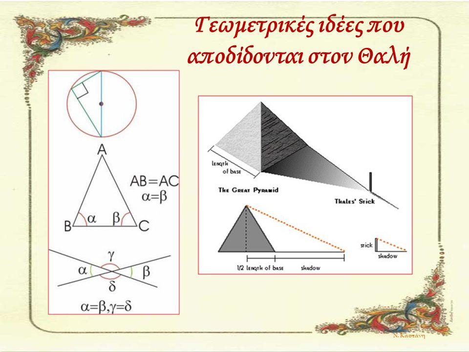Γεωμετρικές ιδέες που αποδίδονται στον Θαλή Ν. Καστάνη