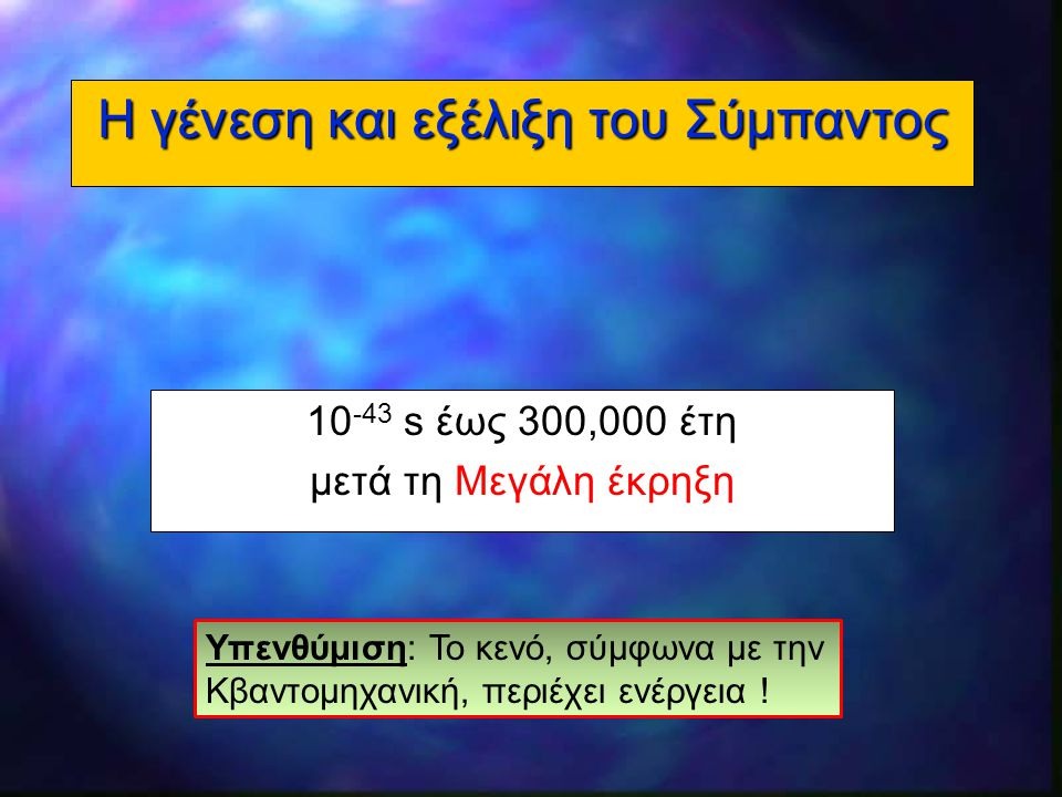 14 Η γένεση και εξέλιξη του Σύμπαντος 10 -43 s έως 300,000 έτη μετά τη Μεγάλη έκρηξη Υπενθύμιση: Το κενό, σύμφωνα με την Κβαντομηχανική, περιέχει ενέρ