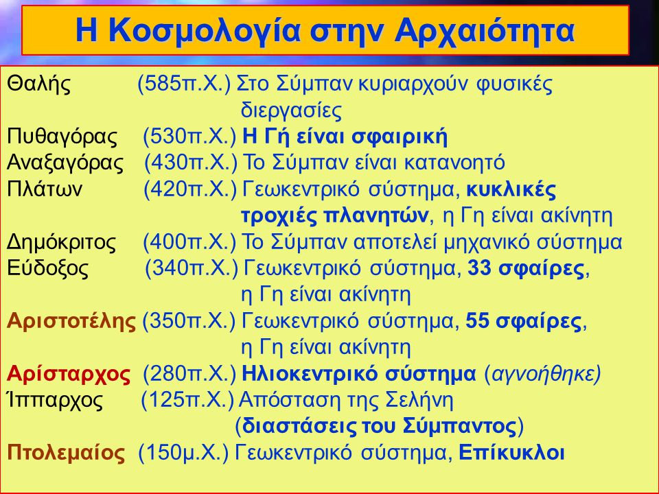 2 Lecture 2 Η Κοσμολογία στην Αρχαιότητα Θαλής (585π.Χ.) Στο Σύμπαν κυριαρχούν φυσικές διεργασίες Πυθαγόρας (530π.Χ.) Η Γή είναι σφαιρική Αναξαγόρας (