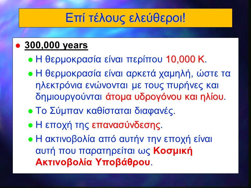 20 Επί τέλους ελεύθεροι! l 300,000 years 10,000 K l Η θερμοκρασία είναι περίπου 10,000 K. άτομα υδρογόνου και ηλίου l Η θερμοκρασία είναι αρκετά χαμηλ