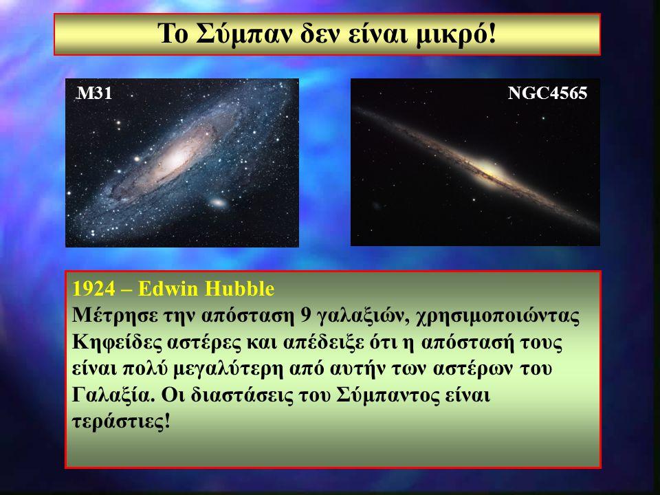 4 Το Σύμπαν δεν είναι μικρό! 1924 – Edwin Hubble Μέτρησε την απόσταση 9 γαλαξιών, χρησιμοποιώντας Κηφείδες αστέρες και απέδειξε ότι η απόστασή τους εί
