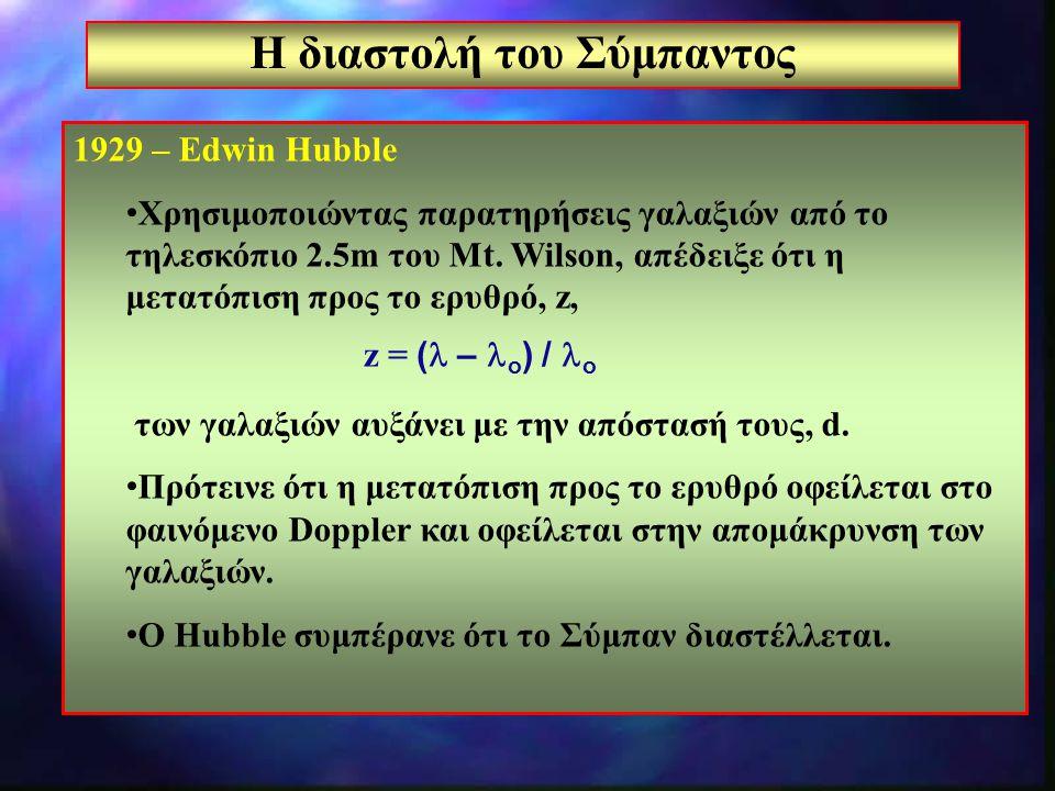 8 Η διαστολή του Σύμπαντος 1929 – Edwin Hubble Χρησιμοποιώντας παρατηρήσεις γαλαξιών από το τηλεσκόπιο 2.5m του Mt. Wilson, απέδειξε ότι η μετατόπιση