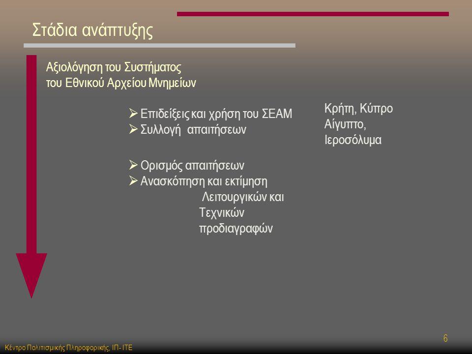 Κέντρο Πολιτισμικής Πληροφορικής, ΙΠ- ΙΤΕ 6 Στάδια ανάπτυξης Αξιολόγηση του Συστήματος του Εθνικού Αρχείου Μνημείων  Επιδείξεις και χρήση του ΣΕΑΜ  Συλλογή απαιτήσεων Κρήτη, Κύπρο Αίγυπτο, Ιεροσόλυμα  Ορισμός απαιτήσεων  Ανασκόπηση και εκτίμηση Λειτουργικών και Τεχνικών προδιαγραφών