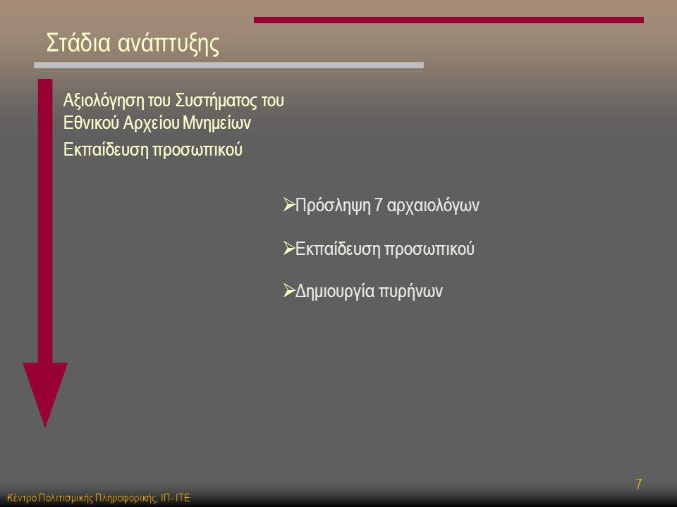 Κέντρο Πολιτισμικής Πληροφορικής, ΙΠ- ΙΤΕ 7 Αξιολόγηση του Συστήματος του Εθνικού Αρχείου Μνημείων Εκπαίδευση προσωπικού  Πρόσληψη 7 αρχαιολόγων  Δημιουργία πυρήνων  Εκπαίδευση προσωπικού Στάδια ανάπτυξης