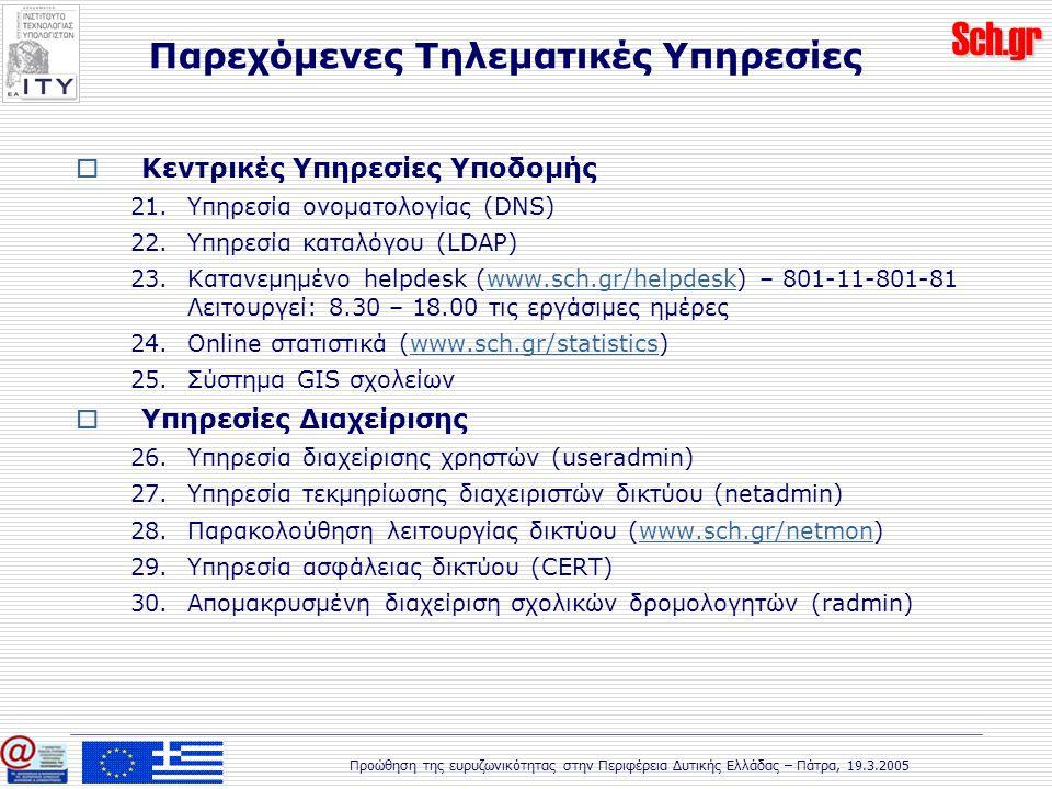Sch.gr Προώθηση της ευρυζωνικότητας στην Περιφέρεια Δυτικής Ελλάδας – Πάτρα, 19.3.2005  Κεντρικές Υπηρεσίες Υποδομής 21.Υπηρεσία ονοματολογίας (DNS) 22.Υπηρεσία καταλόγου (LDAP) 23.Κατανεμημένο helpdesk (www.sch.gr/helpdesk) – 801-11-801-81 Λειτουργεί: 8.30 – 18.00 τις εργάσιμες ημέρεςwww.sch.gr/helpdesk 24.Online στατιστικά (www.sch.gr/statistics)www.sch.gr/statistics 25.Σύστημα GIS σχολείων  Υπηρεσίες Διαχείρισης 26.Υπηρεσία διαχείρισης χρηστών (useradmin) 27.Υπηρεσία τεκμηρίωσης διαχειριστών δικτύου (netadmin) 28.Παρακολούθηση λειτουργίας δικτύου (www.sch.gr/netmon)www.sch.gr/netmon 29.Υπηρεσία ασφάλειας δικτύου (CERT) 30.Απομακρυσμένη διαχείριση σχολικών δρομολογητών (radmin) Παρεχόμενες Τηλεματικές Υπηρεσίες