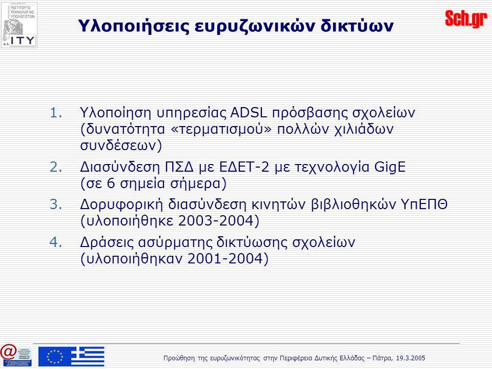 Sch.gr Προώθηση της ευρυζωνικότητας στην Περιφέρεια Δυτικής Ελλάδας – Πάτρα, 19.3.2005 Υλοποιήσεις ευρυζωνικών δικτύων 1.Υλοποίηση υπηρεσίας ADSL πρόσβασης σχολείων (δυνατότητα «τερματισμού» πολλών χιλιάδων συνδέσεων) 2.Διασύνδεση ΠΣΔ με ΕΔΕΤ-2 με τεχνολογία GigE (σε 6 σημεία σήμερα) 3.Δορυφορική διασύνδεση κινητών βιβλιοθηκών ΥπΕΠΘ (υλοποιήθηκε 2003-2004) 4.Δράσεις ασύρματης δικτύωσης σχολείων (υλοποιήθηκαν 2001-2004)