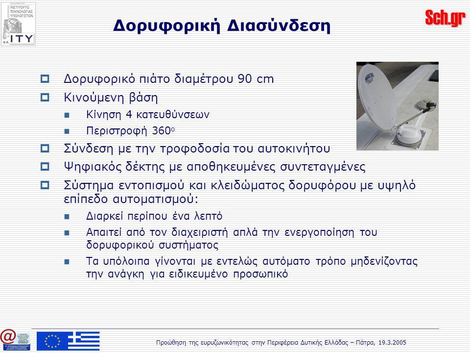 Sch.gr Προώθηση της ευρυζωνικότητας στην Περιφέρεια Δυτικής Ελλάδας – Πάτρα, 19.3.2005  Δορυφορικό πιάτο διαμέτρου 90 cm  Κινούμενη βάση Κίνηση 4 κατευθύνσεων Περιστροφή 360 ο  Σύνδεση με την τροφοδοσία του αυτοκινήτου  Ψηφιακός δέκτης με αποθηκευμένες συντεταγμένες  Σύστημα εντοπισμού και κλειδώματος δορυφόρου με υψηλό επίπεδο αυτοματισμού: Διαρκεί περίπου ένα λεπτό Απαιτεί από τον διαχειριστή απλά την ενεργοποίηση του δορυφορικού συστήματος Τα υπόλοιπα γίνονται με εντελώς αυτόματο τρόπο μηδενίζοντας την ανάγκη για ειδικευμένο προσωπικό Δορυφορική Διασύνδεση