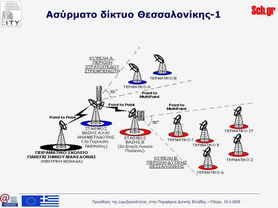Sch.gr Προώθηση της ευρυζωνικότητας στην Περιφέρεια Δυτικής Ελλάδας – Πάτρα, 19.3.2005 Ασύρματο δίκτυο Θεσσαλονίκης-1