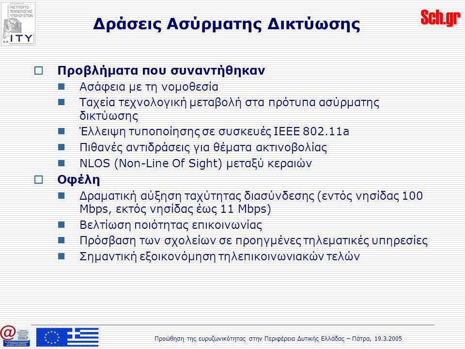 Sch.gr Προώθηση της ευρυζωνικότητας στην Περιφέρεια Δυτικής Ελλάδας – Πάτρα, 19.3.2005  Προβλήματα που συναντήθηκαν Ασάφεια με τη νομοθεσία Ταχεία τεχνολογική μεταβολή στα πρότυπα ασύρματης δικτύωσης Έλλειψη τυποποίησης σε συσκευές IEEE 802.11a Πιθανές αντιδράσεις για θέματα ακτινοβολίας NLOS (Non-Line Of Sight) μεταξύ κεραιών  Οφέλη Δραματική αύξηση ταχύτητας διασύνδεσης (εντός νησίδας 100 Mbps, εκτός νησίδας έως 11 Mbps) Βελτίωση ποιότητας επικοινωνίας Πρόσβαση των σχολείων σε προηγμένες τηλεματικές υπηρεσίες Σημαντική εξοικονόμηση τηλεπικοινωνιακών τελών Δράσεις Ασύρματης Δικτύωσης
