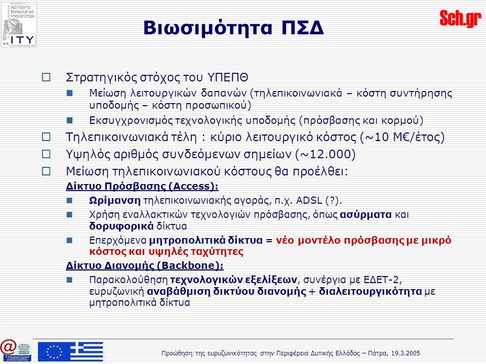 Sch.gr Προώθηση της ευρυζωνικότητας στην Περιφέρεια Δυτικής Ελλάδας – Πάτρα, 19.3.2005 Βιωσιμότητα ΠΣΔ  Στρατηγικός στόχος του ΥΠΕΠΘ Μείωση λειτουργικών δαπανών (τηλεπικοινωνιακά – κόστη συντήρησης υποδομής – κόστη προσωπικού) Εκσυγχρονισμός τεχνολογικής υποδομής (πρόσβασης και κορμού)  Τηλεπικοινωνιακά τέλη : κύριο λειτουργικό κόστος (~10 Μ€/έτος)  Υψηλός αριθμός συνδεόμενων σημείων (~12.000)  Μείωση τηλεπικοινωνιακού κόστους θα προέλθει: Δίκτυο Πρόσβασης (Access): Ωρίμανση τηλεπικοινωνιακής αγοράς, π.χ.