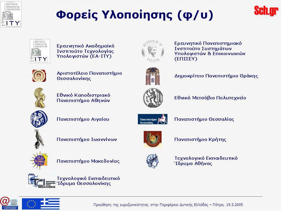 Sch.gr Προώθηση της ευρυζωνικότητας στην Περιφέρεια Δυτικής Ελλάδας – Πάτρα, 19.3.2005 Φορείς Υλοποίησης (φ/υ)