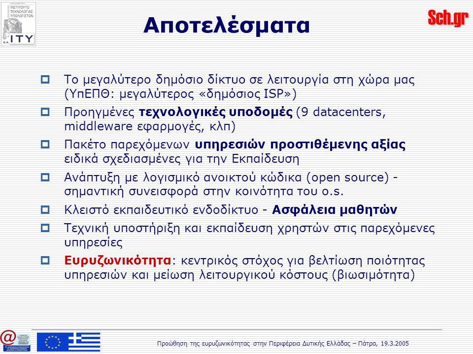 Sch.gr Προώθηση της ευρυζωνικότητας στην Περιφέρεια Δυτικής Ελλάδας – Πάτρα, 19.3.2005 Αποτελέσματα  Το μεγαλύτερο δημόσιο δίκτυο σε λειτουργία στη χώρα μας (ΥπΕΠΘ: μεγαλύτερος «δημόσιος ISP»)  Προηγμένες τεχνολογικές υποδομές (9 datacenters, middleware εφαρμογές, κλπ)  Πακέτο παρεχόμενων υπηρεσιών προστιθέμενης αξίας ειδικά σχεδιασμένες για την Εκπαίδευση  Ανάπτυξη με λογισμικό ανοικτού κώδικα (open source) - σημαντική συνεισφορά στην κοινότητα του o.s.