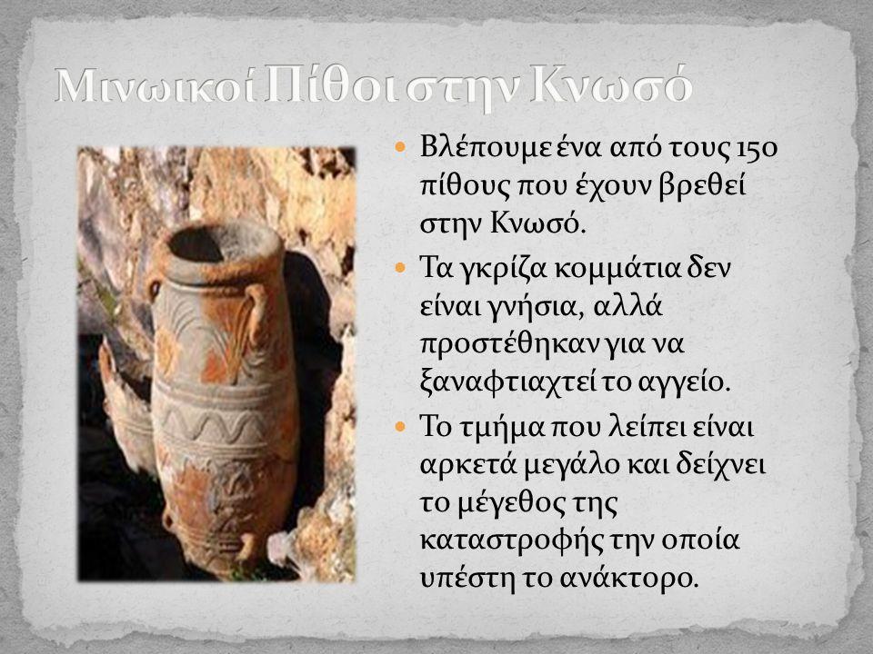 Βλέπουμε ένα από τους 150 πίθους που έχουν βρεθεί στην Κνωσό.