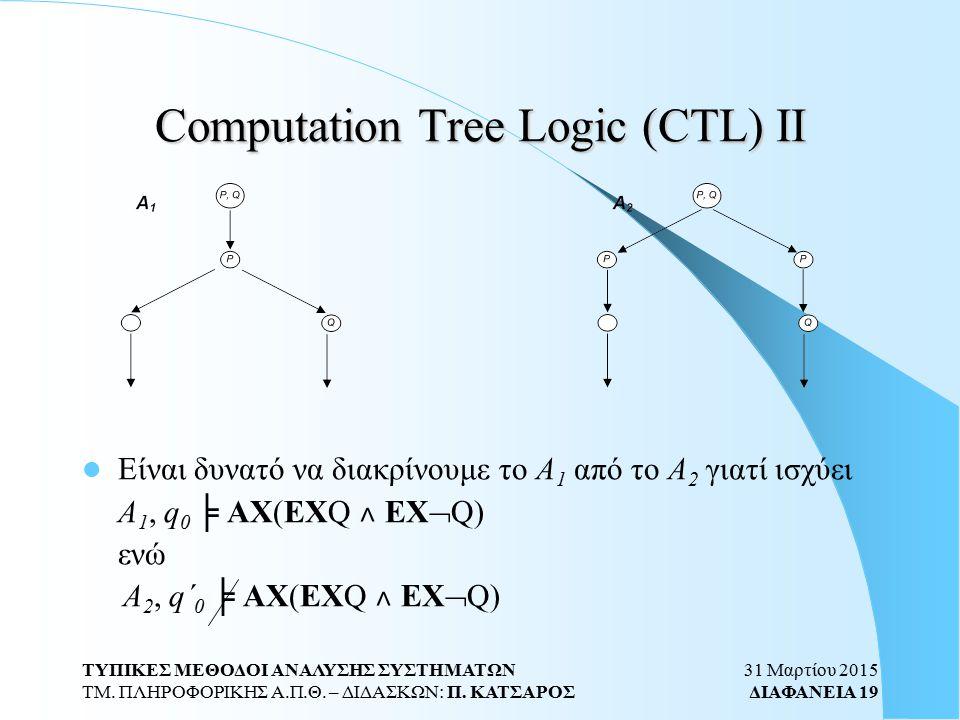 31 Μαρτίου 2015 ΔΙΑΦΑΝΕΙΑ 19 ΤΥΠΙΚΕΣ ΜΕΘΟΔΟΙ ΑΝΑΛΥΣΗΣ ΣΥΣΤΗΜΑΤΩΝ ΤΜ. ΠΛΗΡΟΦΟΡΙΚΗΣ Α.Π.Θ. – ΔΙΔΑΣΚΩΝ: Π. ΚΑΤΣΑΡΟΣ Computation Tree Logic (CTL) ΙΙ Είναι