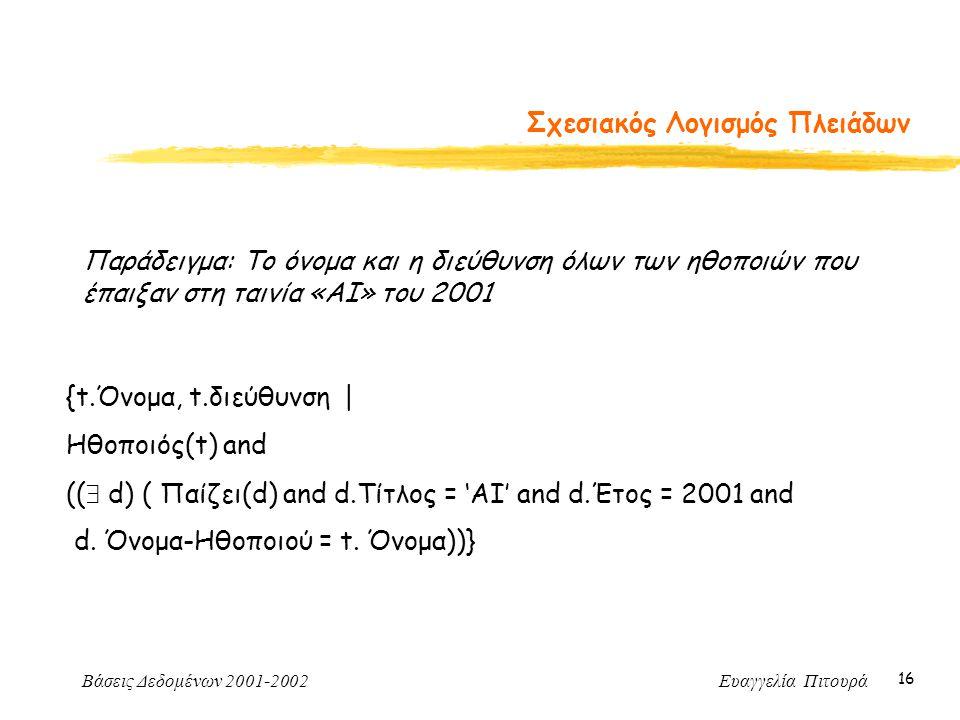 Βάσεις Δεδομένων 2001-2002 Ευαγγελία Πιτουρά 16 Σχεσιακός Λογισμός Πλειάδων Παράδειγμα: Το όνομα και η διεύθυνση όλων των ηθοποιών που έπαιξαν στη ταινία «ΑΙ» του 2001 {t.Όνομα, t.διεύθυνση | Ηθοποιός(t) and ((  d) ( Παίζει(d) and d.Τίτλος = 'ΑΙ' and d.Έτος = 2001 and d.