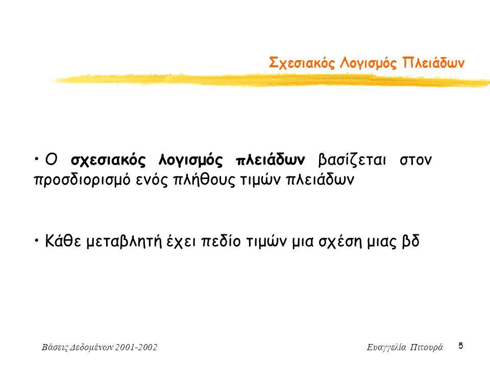 Βάσεις Δεδομένων 2001-2002 Ευαγγελία Πιτουρά 5 Σχεσιακός Λογισμός Πλειάδων Ο σχεσιακός λογισμός πλειάδων βασίζεται στον προσδιορισμό ενός πλήθους τιμών πλειάδων Κάθε μεταβλητή έχει πεδίο τιμών μια σχέση μιας βδ