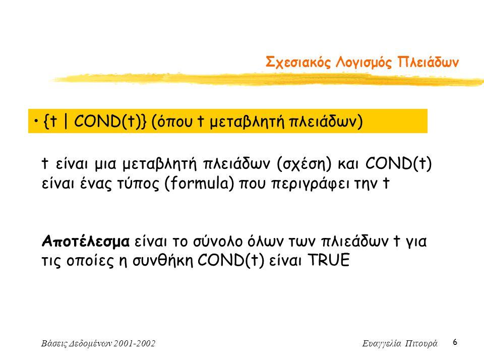 Βάσεις Δεδομένων 2001-2002 Ευαγγελία Πιτουρά 6 Σχεσιακός Λογισμός Πλειάδων {t | COND(t)} (όπου t μεταβλητή πλειάδων) t είναι μια μεταβλητή πλειάδων (σχέση) και COND(t) είναι ένας τύπος (formula) που περιγράφει την t Αποτέλεσμα είναι το σύνολο όλων των πλιεάδων t για τις οποίες η συνθήκη COND(t) είναι TRUE