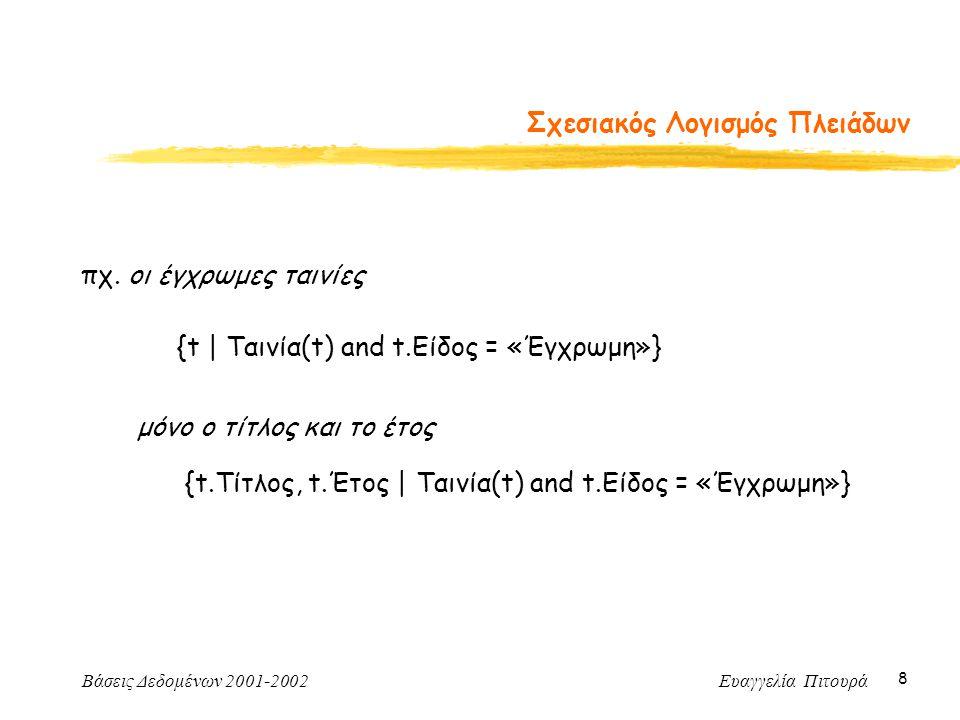 Βάσεις Δεδομένων 2001-2002 Ευαγγελία Πιτουρά 8 Σχεσιακός Λογισμός Πλειάδων πχ.