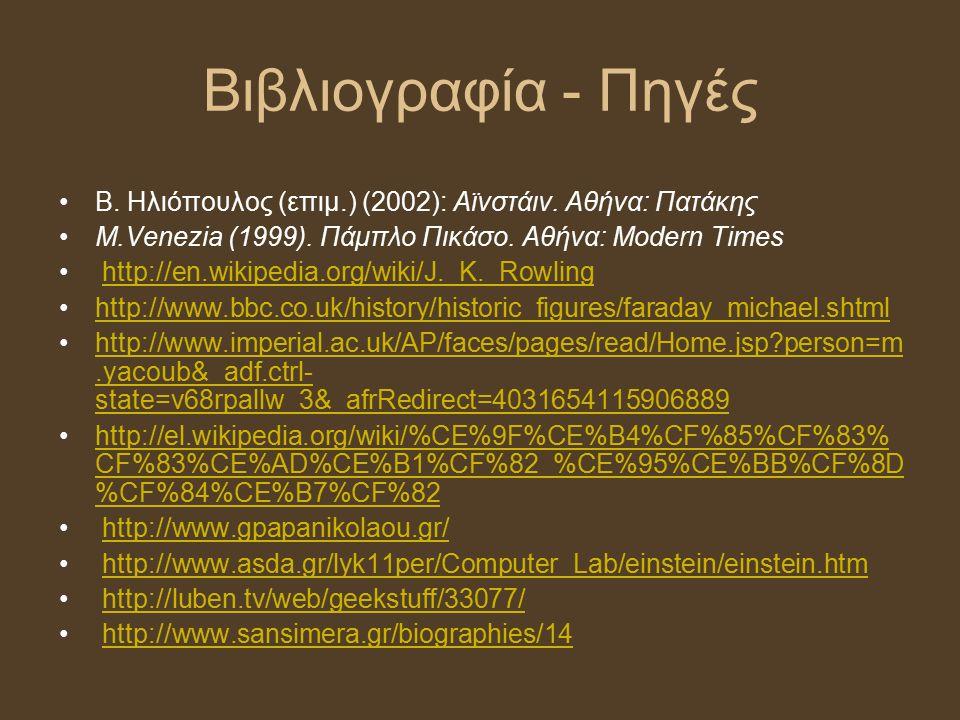 Βιβλιογραφία - Πηγές Β. Ηλιόπουλος (επιμ.) (2002): Αϊνστάιν. Αθήνα: Πατάκης Μ.Venezia (1999). Πάμπλο Πικάσο. Αθήνα: Modern Times http://en.wikipedia.o