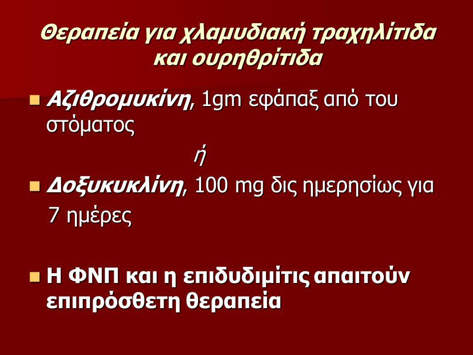 Θεραπεία για χλαμυδιακή τραχηλίτιδα και ουρηθρίτιδα Αζιθρομυκίνη, 1gm εφάπαξ από του στόματος Αζιθρομυκίνη, 1gm εφάπαξ από του στόματος ή Δοξυκυκλίνη,