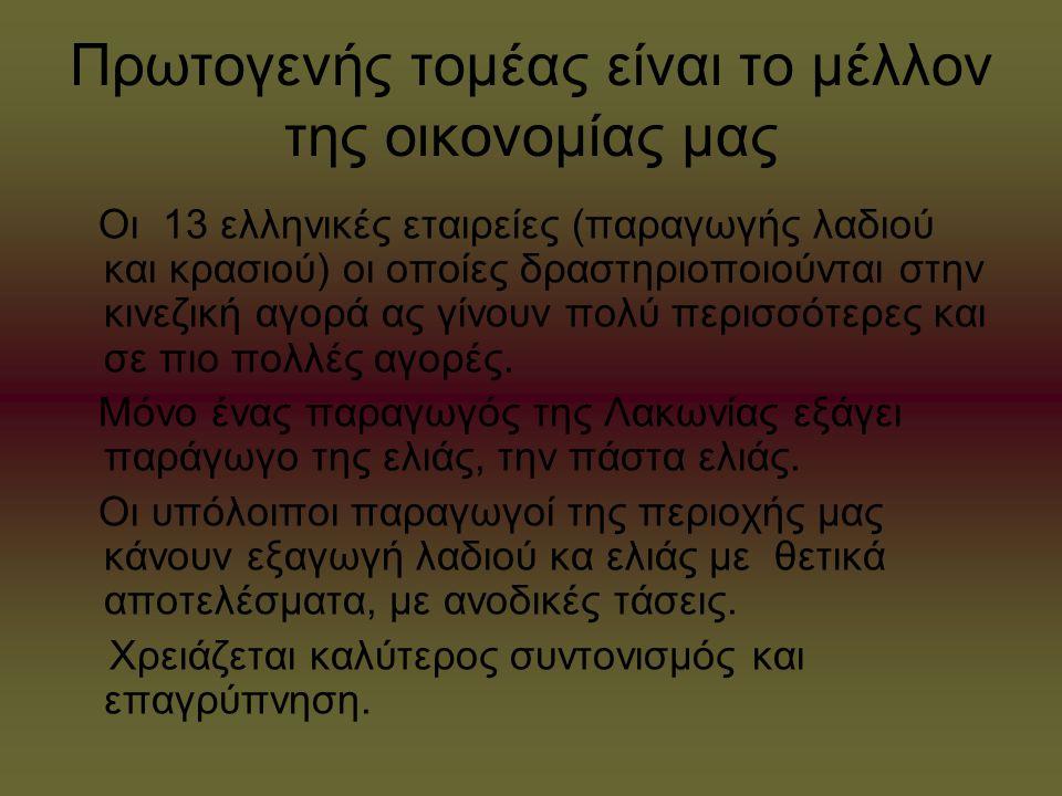 Πρωτογενής τομέας είναι το μέλλον της οικονομίας μας Οι 13 ελληνικές εταιρείες (παραγωγής λαδιού και κρασιού) οι οποίες δραστηριοποιούνται στην κινεζι