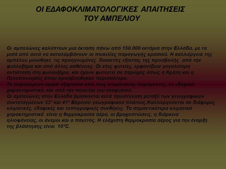 Οι αμπελώνες καλύπτουν μια έκταση πάνω από 150.000 εκτάρια στην Ελλάδα, με τα μισά από αυτά να καταλαμβάνουν οι ποικιλίες παραγωγής κρασιού. Η καλλιέρ
