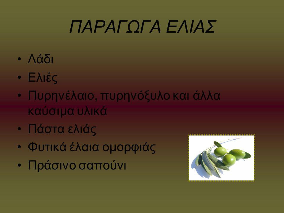 ΠΑΡΑΓΩΓΑ ΕΛΙΑΣ Λάδι Ελιές Πυρηνέλαιο, πυρηνόξυλο και άλλα καύσιμα υλικά Πάστα ελιάς Φυτικά έλαια ομορφιάς Πράσινο σαπούνι