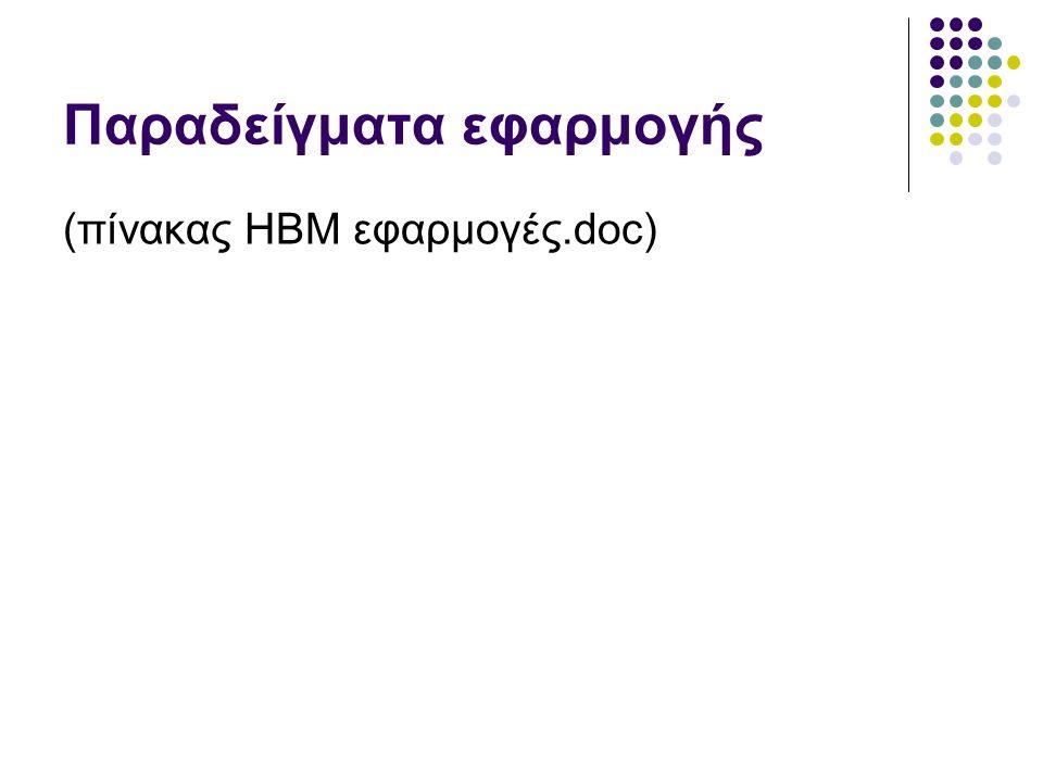 Παραδείγματα εφαρμογής (πίνακας HBM εφαρμογές.doc)