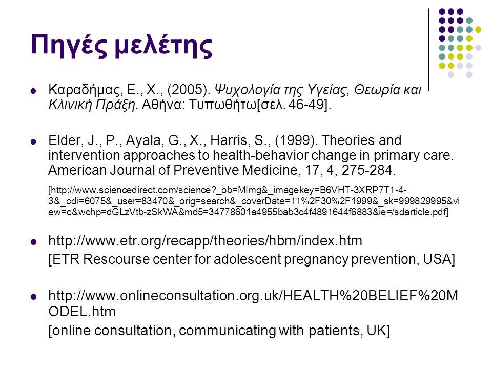 Πηγές μελέτης Καραδήμας, Ε., Χ., (2005). Ψυχολογία της Υγείας, Θεωρία και Κλινική Πράξη. Αθήνα: Τυπωθήτω[σελ. 46-49]. Elder, J., P., Ayala, G., X., Ha
