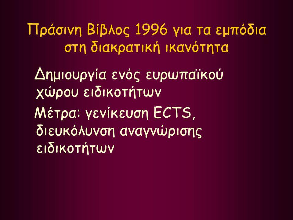 Πράσινη Βίβλος 1996 για τα εμπόδια στη διακρατική ικανότητα Δημιουργία ενός ευρωπαϊκού χώρου ειδικοτήτων Μέτρα: γενίκευση ECTS, διευκόλυνση αναγνώριση