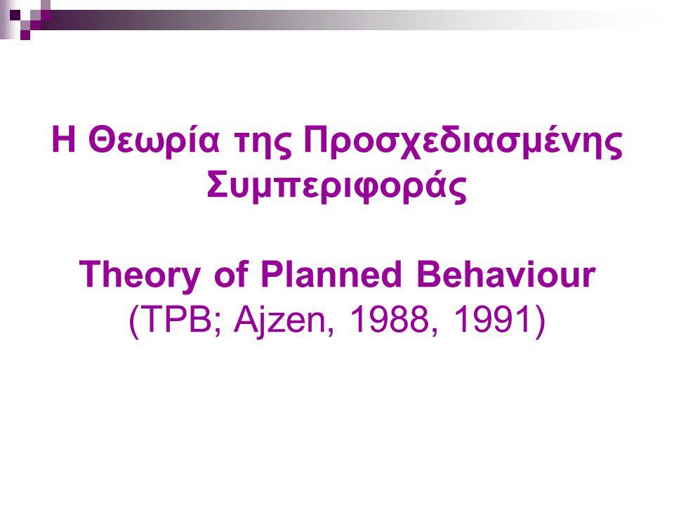 Έρευνα Εφαρμογή των μοντέλων της έλλογης δράσης σε πλήθος συμπεριφορών, με ποικιλία βαθμού επιτυχίας Περιγραφικές ανασκοπήσεις (Liska, 1984; Eagly & Chaiken, 1993; Sparks, 1994; Manstead & Parker, 1995; Jonas & Doll, 1996; Ajzen & Fishbein, 2005) Μετα-αναλύσεις (Sheppard et al., 1988; Van den Putte, 1991;Armitage & Conner, 2001)