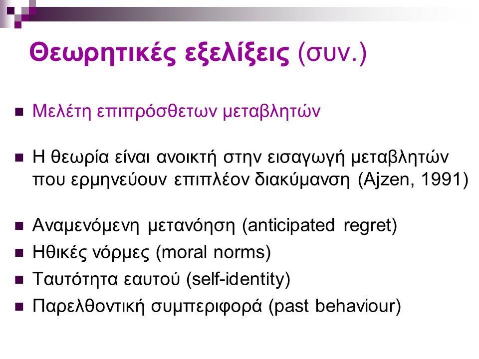Θεωρητικές εξελίξεις (συν.) Μελέτη επιπρόσθετων μεταβλητών Η θεωρία είναι ανοικτή στην εισαγωγή μεταβλητών που ερμηνεύουν επιπλέον διακύμανση (Ajzen, 1991) Αναμενόμενη μετανόηση (anticipated regret) Ηθικές νόρμες (moral norms) Ταυτότητα εαυτού (self-identity) Παρελθοντική συμπεριφορά (past behaviour)