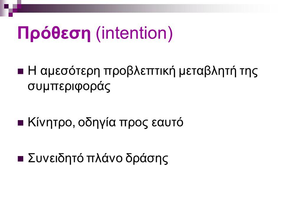 Θεωρητικές εξελίξεις Ορισμός μεταβλητών μοντέλου Πρόθεση: αυτο-πρόβλεψη, επιθυμία Στάση: συναισθηματική, γνωστική, συνολική Υποκειμενική νόρμα: περιγραφική, injunctive Συμπεριφορικός έλεγχος: αντιλαμβανόμενη δυσκολία, αντιλαμβανόμενος έλεγχος