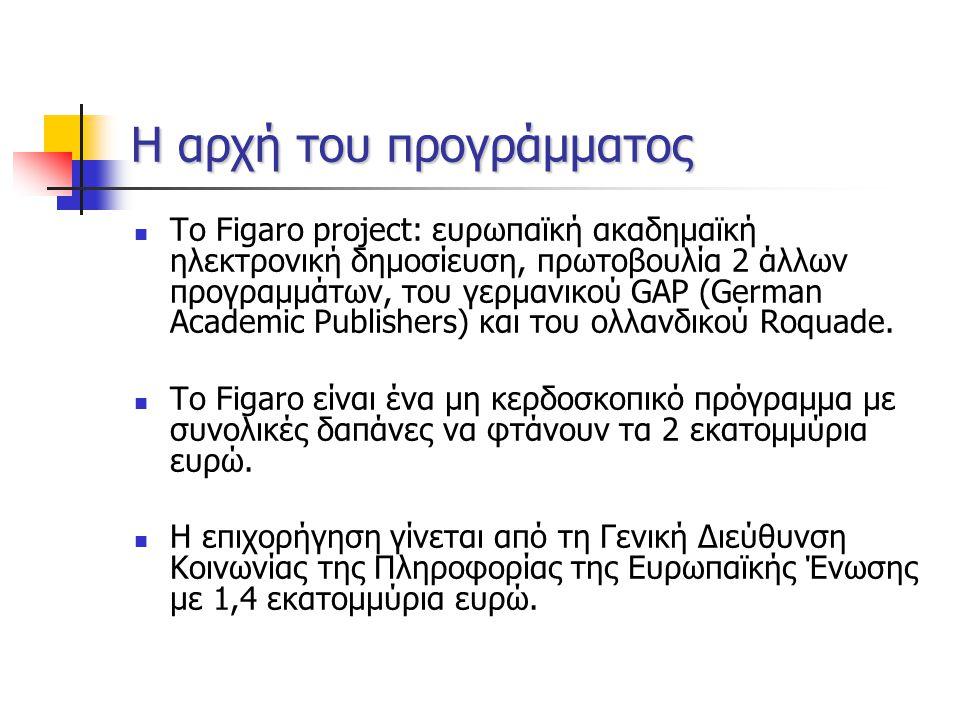 Η αρχή του προγράμματος Το Figaro project: ευρωπαϊκή ακαδημαϊκή ηλεκτρονική δημοσίευση, πρωτοβουλία 2 άλλων προγραμμάτων, του γερμανικού GAP (German Academic Publishers) και του ολλανδικού Roquade.