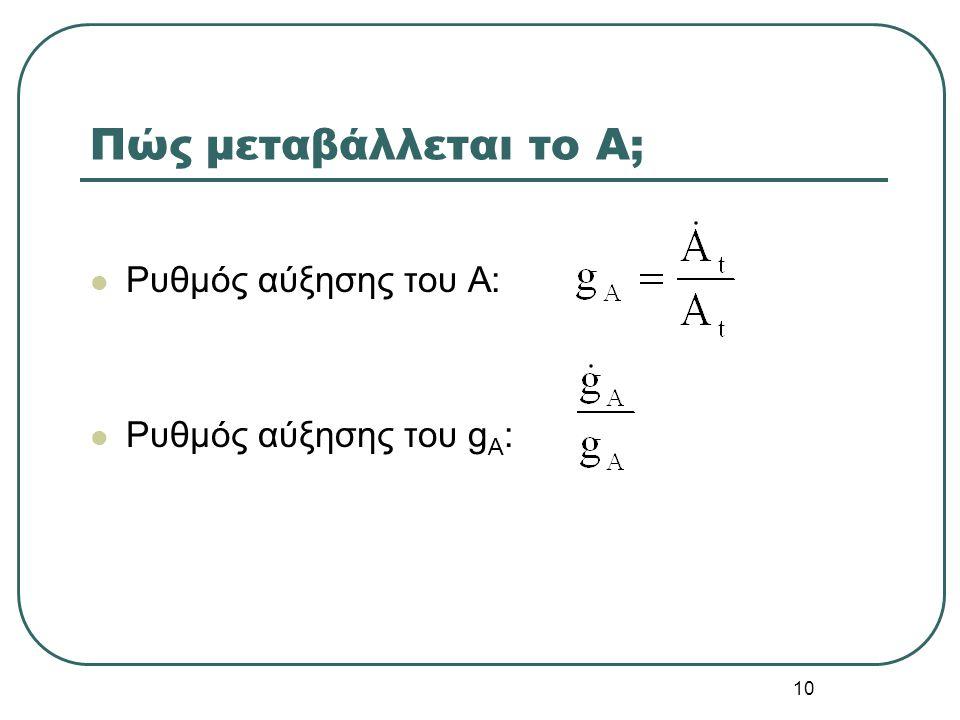 10 Πώς μεταβάλλεται το A; Ρυθμός αύξησης του Α: Ρυθμός αύξησης του g A :