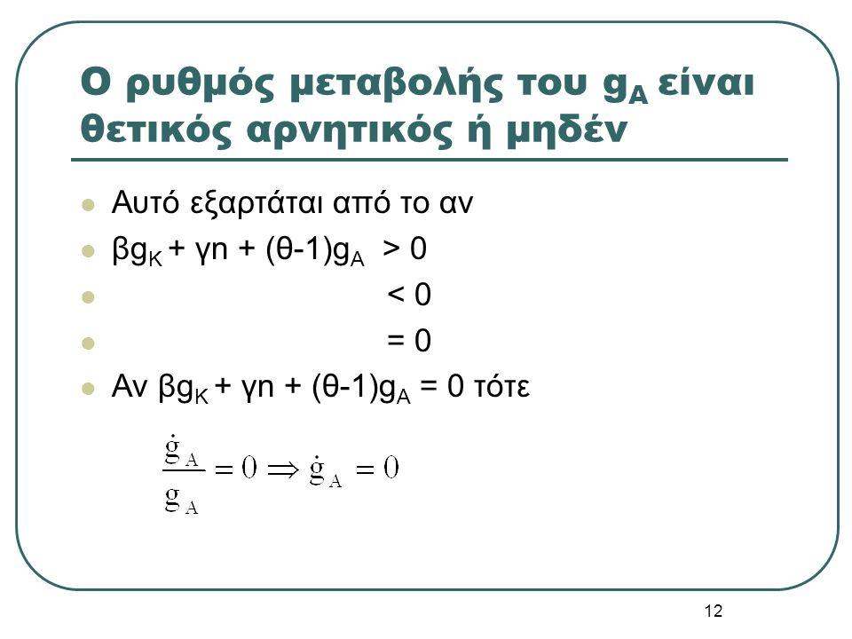 12 O ρυθμός μεταβολής του g Α είναι θετικός αρνητικός ή μηδέν Αυτό εξαρτάται από το αν βg Κ + γn + (θ-1)g Α > 0 < 0 = 0 Αν βg Κ + γn + (θ-1)g Α = 0 τό