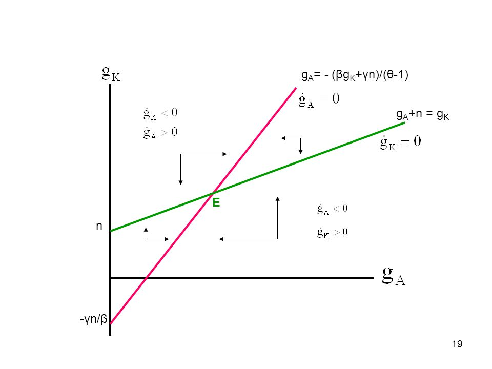 19 n g A = - (βg K +γn)/(θ-1) -γn/β g A +n = g K Ε