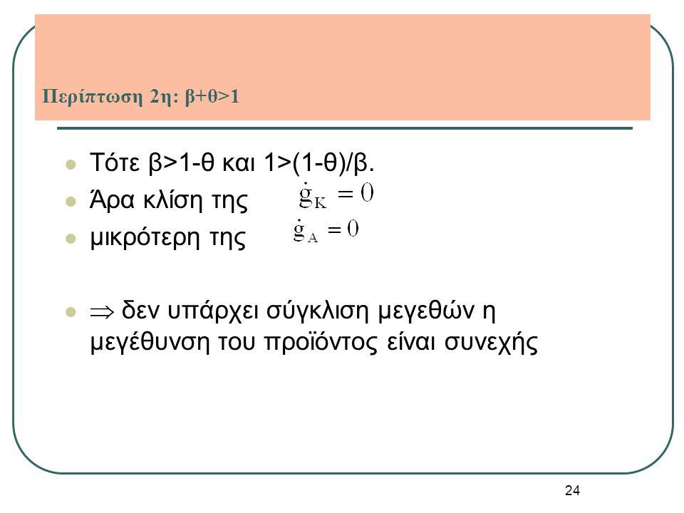 24 Περίπτωση 2η: β+θ>1 Τότε β>1-θ και 1>(1-θ)/β. Άρα κλίση της μικρότερη της  δεν υπάρχει σύγκλιση μεγεθών η μεγέθυνση του προϊόντος είναι συνεχής