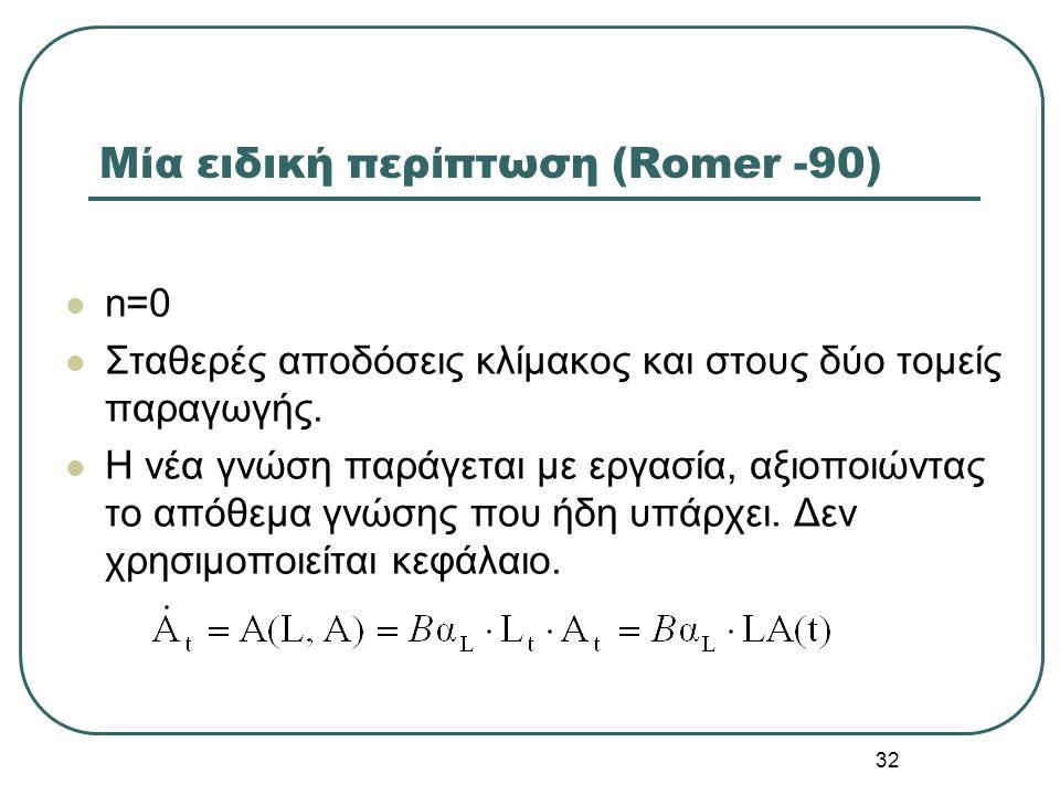 32 Μία ειδική περίπτωση (Romer -90) n=0 Σταθερές αποδόσεις κλίμακος και στους δύο τομείς παραγωγής. Η νέα γνώση παράγεται με εργασία, αξιοποιώντας το