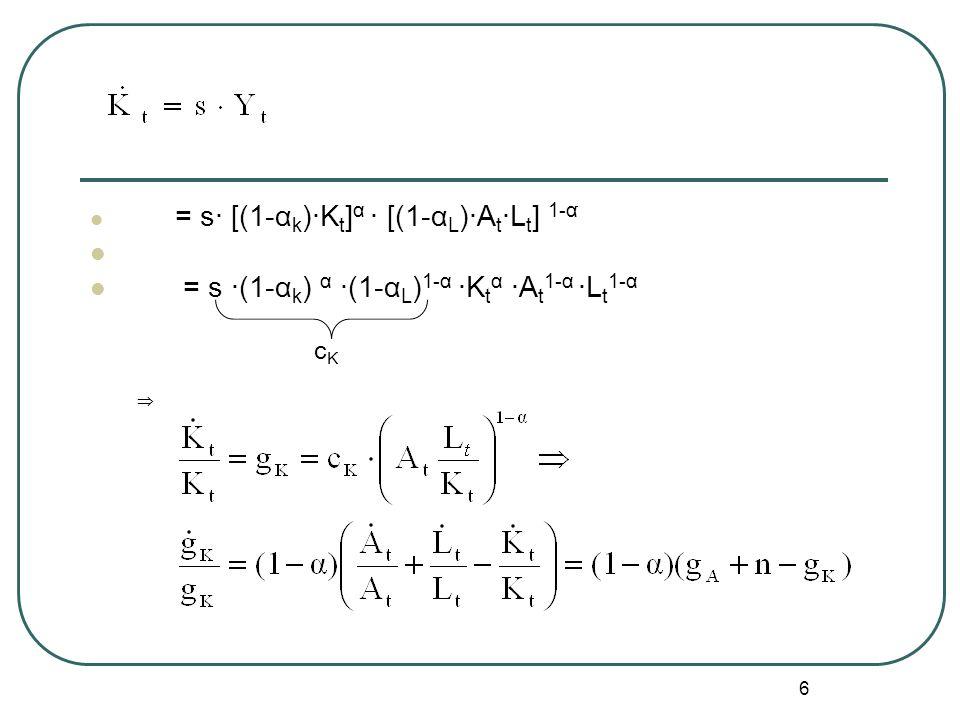 6 = s· [(1-α k )·K t ] α · [(1-α L )·A t ·L t ] 1-α۬۠۟ = s ·(1-α k ) α ·(1-α L ) 1-α ·K t α ·A t 1-α ·L t 1-α c K 